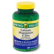 Spring Valley Calcium, Magnesium & Zinc plus Vitamin D3 Coated Caplets, 250 Ct