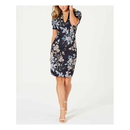 VINCE CAMUTO Womens Navy Floral Short Sleeve V Neck Above The Knee Body Con Wear To Work Dress  Size: 6P