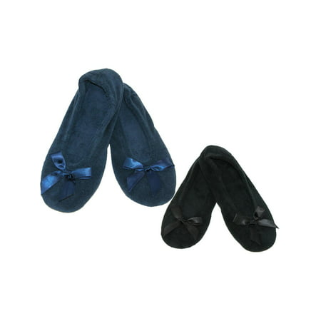 6ee23b8b18df Isotoner - Women s Terry Classic Ballerina Slippers (Pack of 2) -  Walmart.com