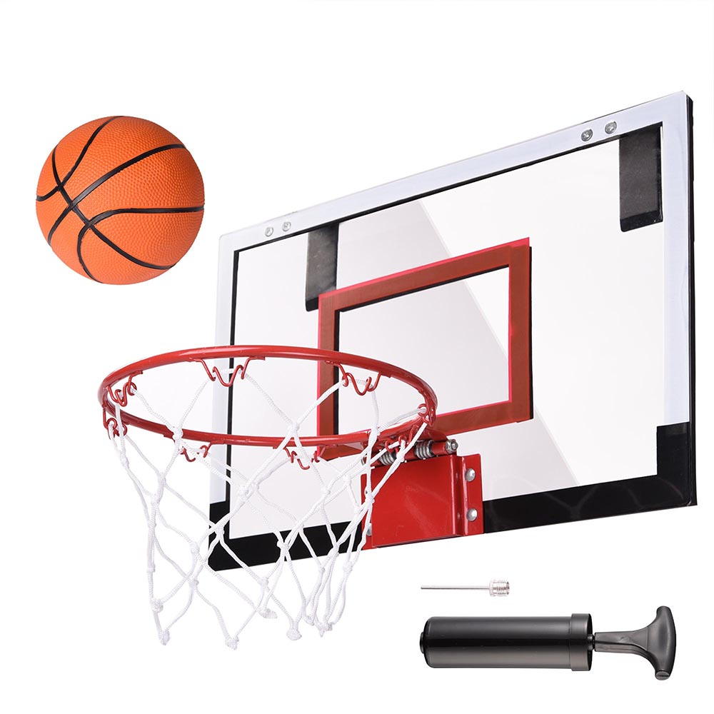 "Mini Basketball Hoop 18x12' Over-The-Door/Wall Indoor w/ Pump 5.5"" Ball Set Sport Exercise Indoor"