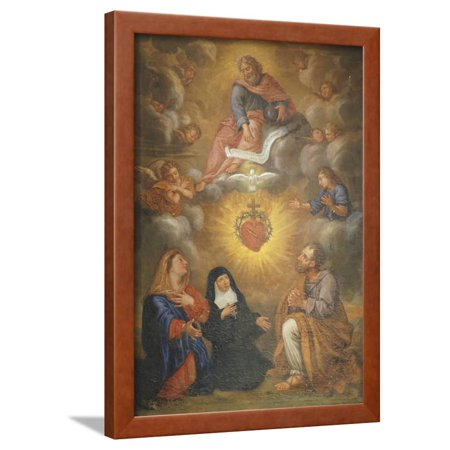 Adoration of the Sacred Heart of Jesus by the Angels, Mary and Joseph and  Margaret Mary Alacocque Framed Print Wall Art By French School