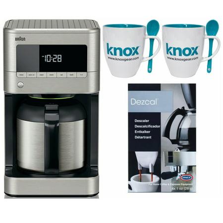 Braun BrewSense KF7175 Drip Coffee Maker w/ Thermal Carafe + Descaler and Mugs