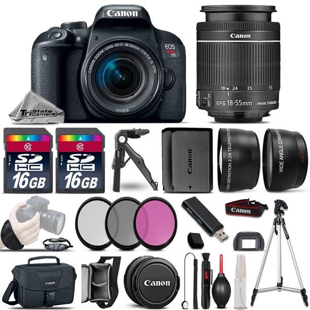 Canon EOS Rebel T7i SLR Camera 800D + 18-55mm IS - 3 Lens Kit + 32GB + EXT BATT