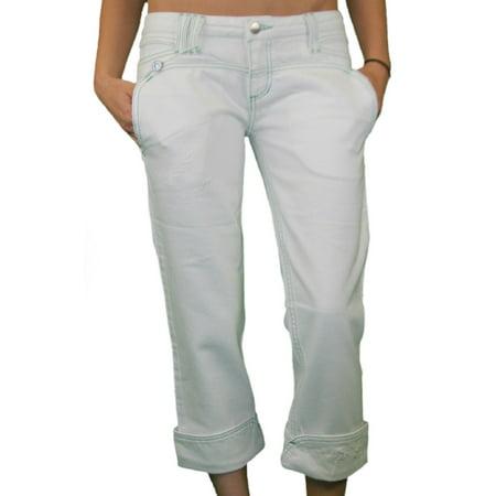CUSTO BARCELONA Women's Belona White Cropped Capris Jeans