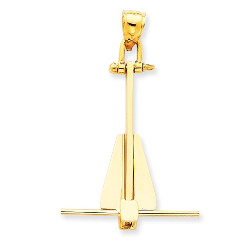 14k Yellow Gold Moveable Danforth Anchor Pendant