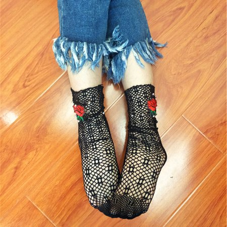 Mesh Socks  Coxeer Sexy Fishnet Stockings Crew Socks Mesh Socks Embroidered Socks For Women Ladies   Girls