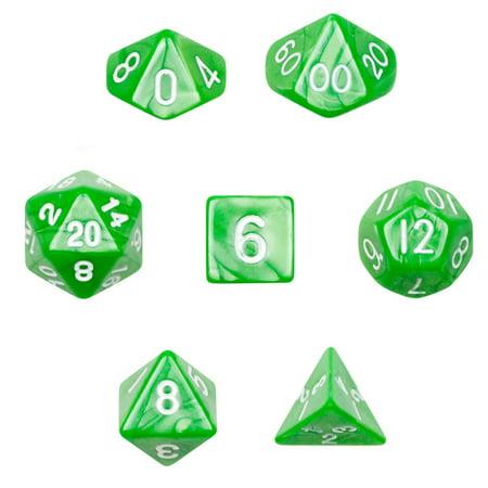 Wiz Dice 7 Die Polyhedral Dice Set in Velvet Pouch - Imperial Gem