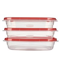 Rubbermaid TakeAlongs Divided Rectangular Food Storage Containers, 3.7 Cup, 3-Pack