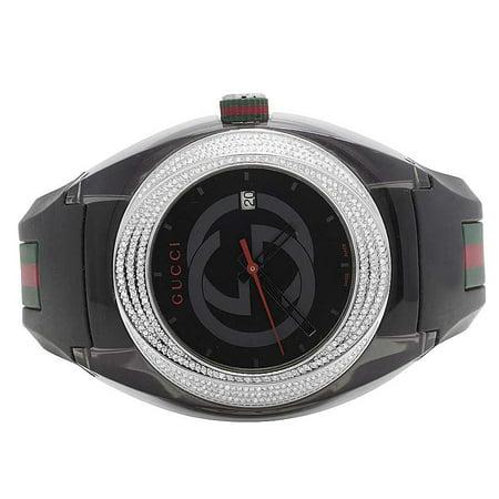 767e77d64fc Gucci - Mens Analog Sync Diamond Watch YA137101 (1.25 Ct) - Walmart.com