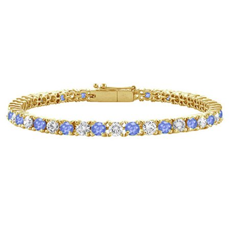 Created Tanzanite and Cubic Zirconia Tennis Bracelet with 2 CT TGW on 14K Yellow Gold - image 1 de 2