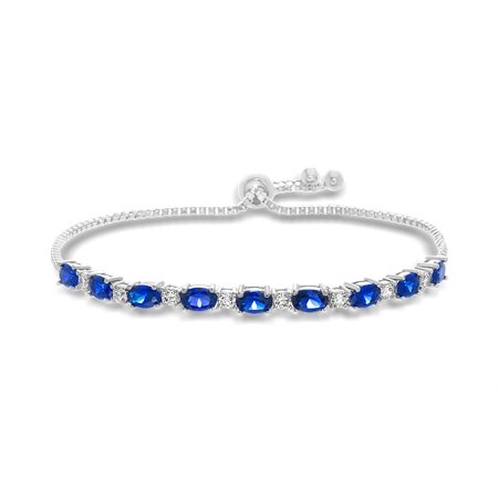 Inspired by You Oval Prong Set Simulated Blue Sapphire and Round Cubic Zirconia Adjustable Bridal Tennis Bracelet for Women in Rhodium Plated 925 Sterling Silver