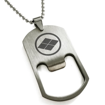 Stainless Steel Matsumae Samurai Crest Engraved Bottle Opener Dog Tag Pendant Necklace - 70s Necklaces