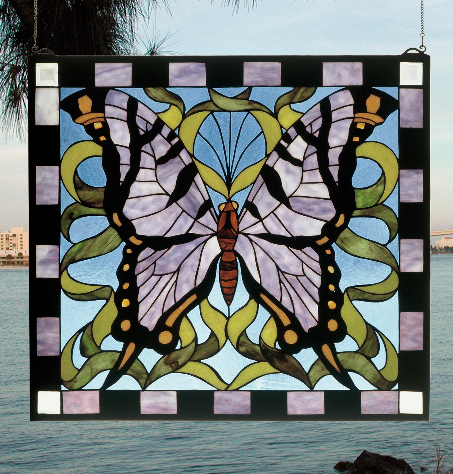 Meyda Tiffany 46464 Stained Glass Tiffany Window from the Garden Friends Collection