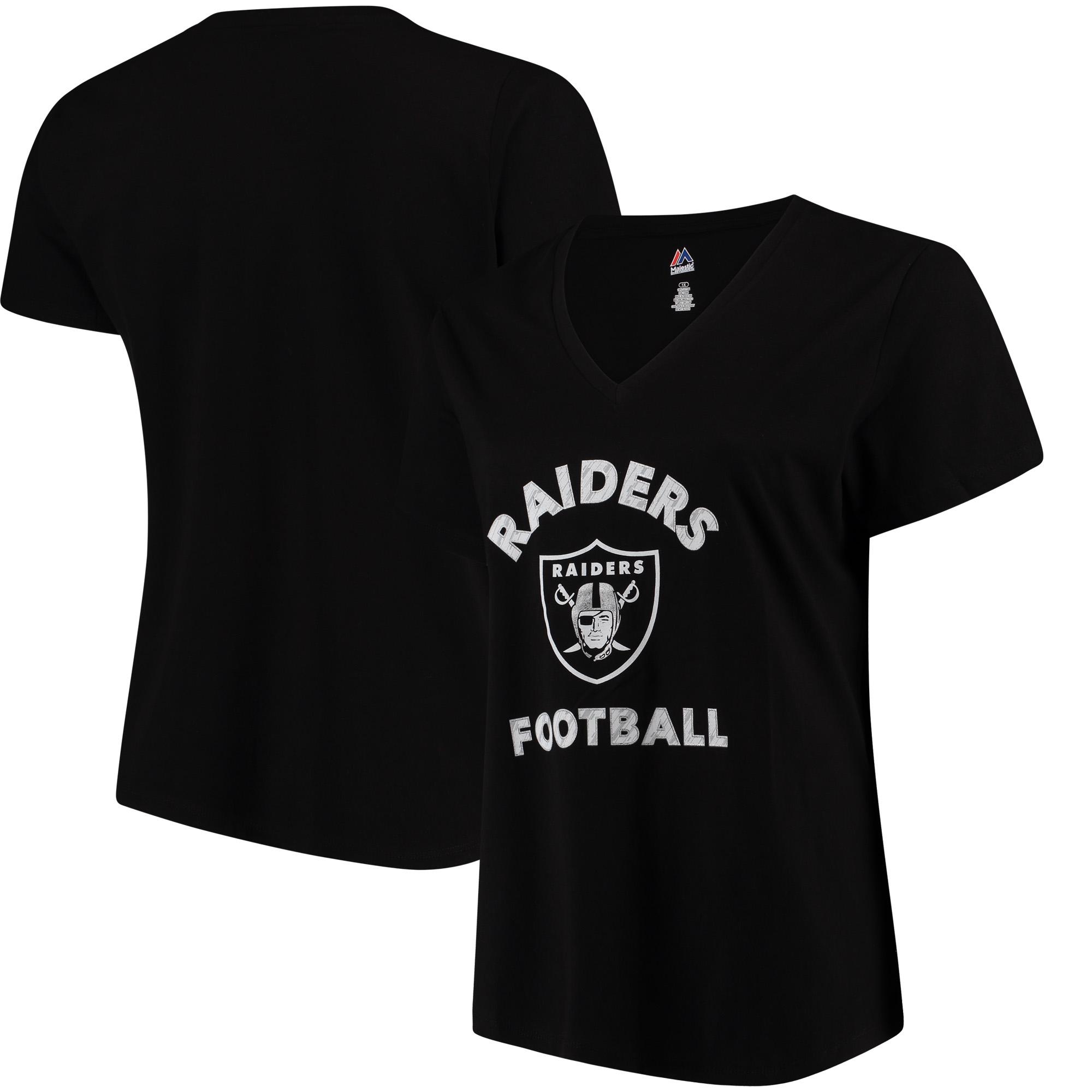 Oakland Raiders Majestic Women's Plus Size V-Neck T-Shirt - Black