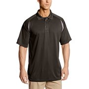 Russell Athletic Men's Big-Tall Pieced Dri-Power Polo, Black/Charcoal, 2X/Tall