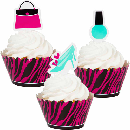 Creative Converting Pink Zebra Boutique Cupcake Toppers with Picks, 6-Pack