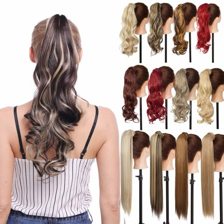 Straight Pony - S-noilite Long Straight Ponytail Extension Wrap Around Synthetic Hair Extensions One Piece Hairpiece Pony Tail Extension for Women ,light ash brown mix bleach blonde,17