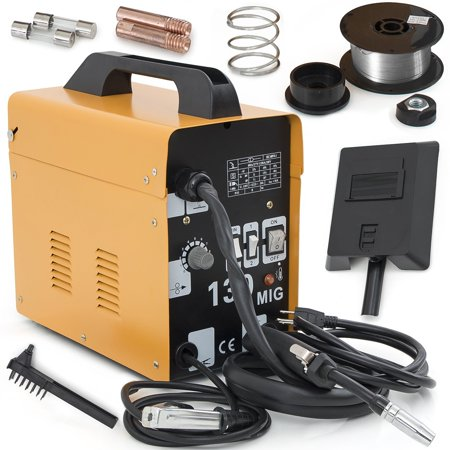 Zimtown Mig-130 Welding Machine Set, AC 110V Flux Core Automatic Feeding Wire Gas Less Commercial Welder with Free Mask, Variable Feed Speed Control, for Welding Mild steel, Stainless Steel &