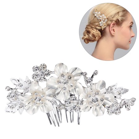 Wedding Hair Comb,Kapmore Flower Rhinestone Decor Handmade Bridal Hair Comb Hair Accessories for Women Ladies