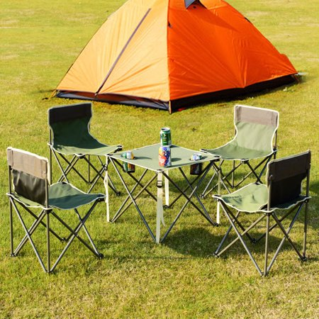 Costway Portable Folding Table Chairs Set Outdoor Camp Beach Picnic w/ Carrying