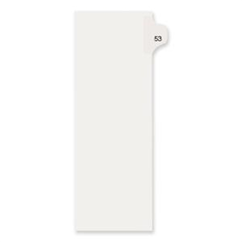 """Avery Side-Tab Legal Index Divider - 1 - Tab(s)Printed 53 - 8.50"""" Divider Width x 11"""" Divider Length - Letter - White Pa"""