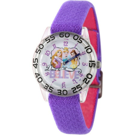 Princess Cinderella, Rapunzel and Belle Girls' Clear Plastic Time Teacher Watch, Reversible Purple and Pink Nylon Strap ()