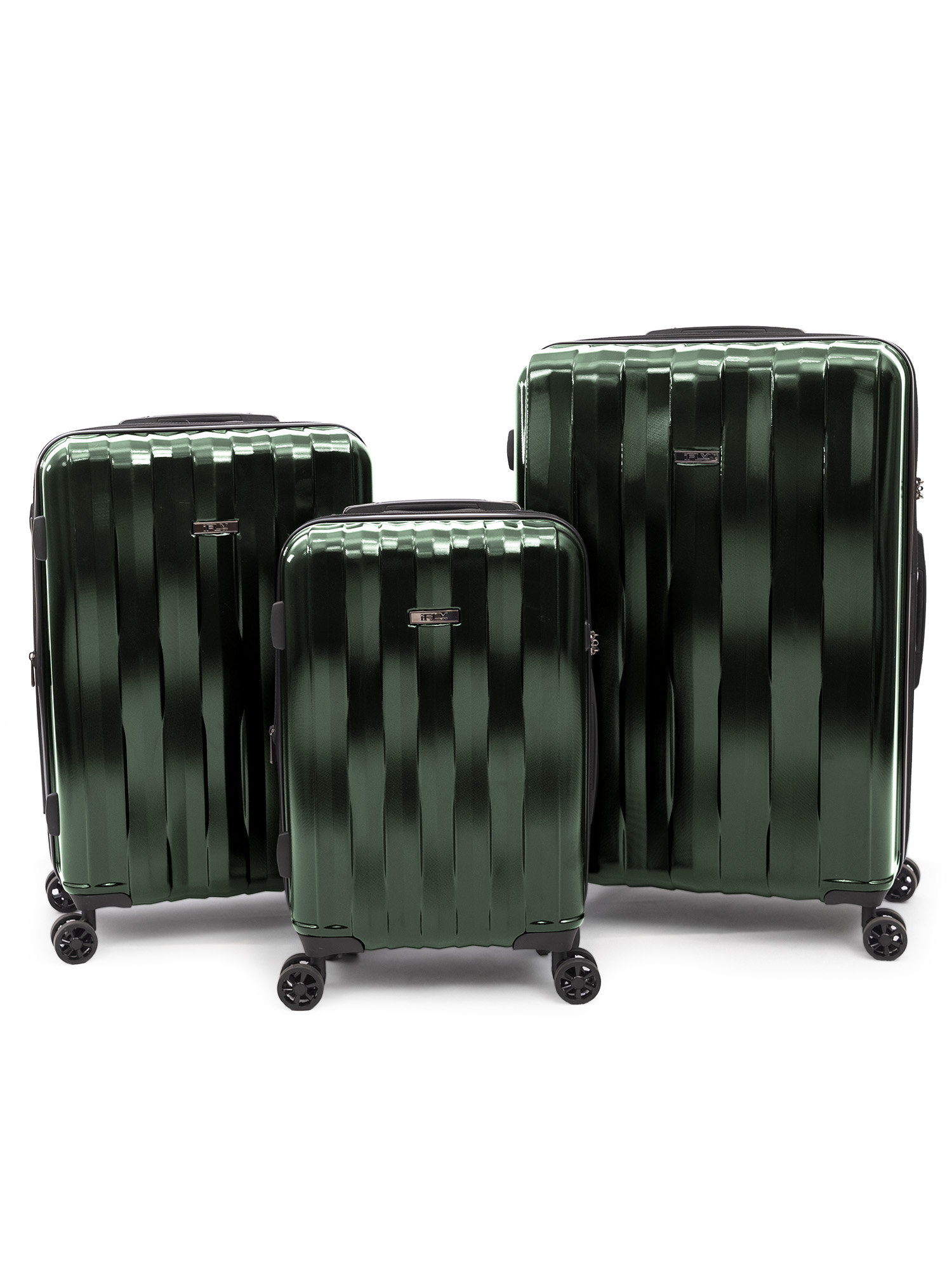 iFLY Hard Sided Luggage Synergy 3 piece set, Green