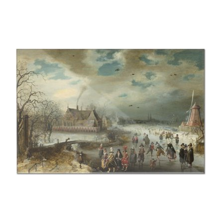 Skating on the Frozen Amstel River - Masterpiece Classic - Artist: Adam van  Breen c  1611 (18x12 Acrylic Wall Art Gallery Quality)