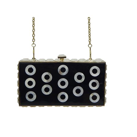 Beaute Bags Genuine Mother of Pearl and Crystal Jeweled Clutch Box Frame Clutch Evening Bag with Detachable Chain Shoulder Strap (Crystal Evening Box)