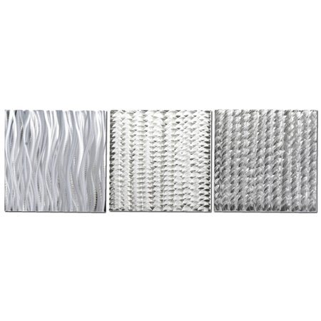 Silver Monochrome Resin - 3-Panel Abstract Metal Art 'Countless Composition' Modern Artwork, Minimalist Silver Decor, Contemporary Monochrome Giclee: 100% Made