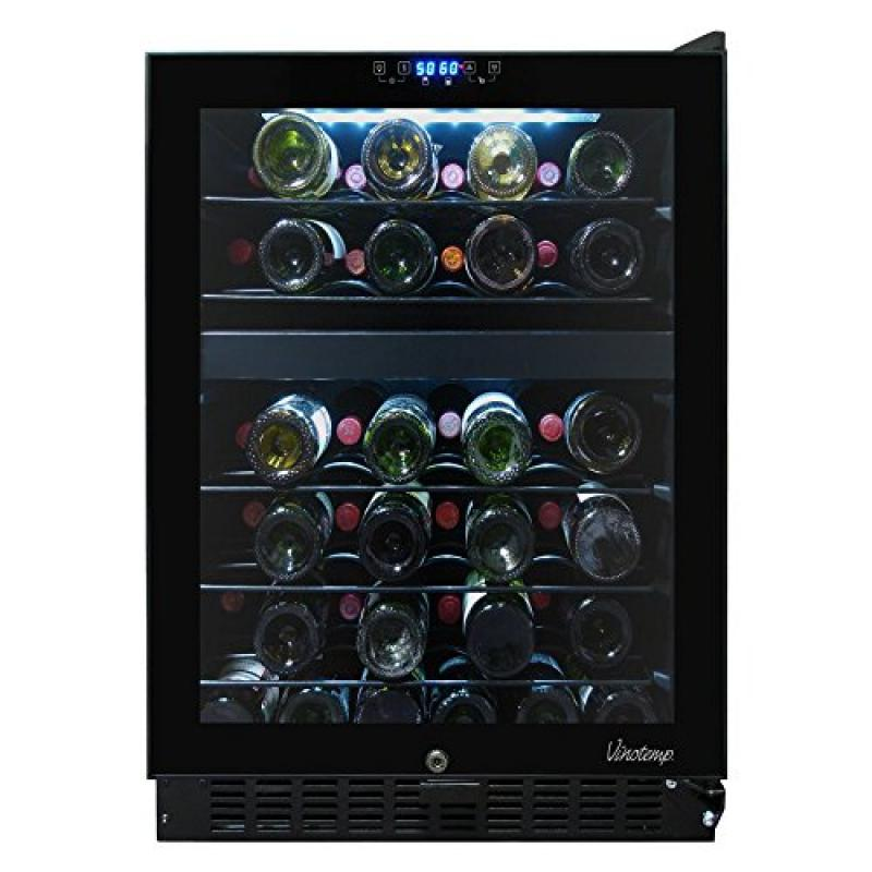 46-Bottle Dual-Zone Touch Screen Wine Cooler (Left Hinge)