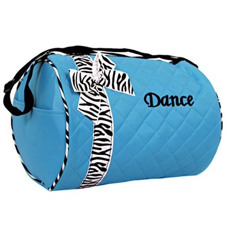Dance Bag Quilted Zebra Duffle In Aqua Turquoise