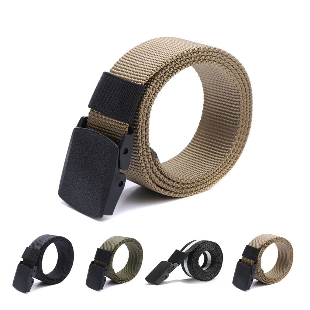 Men Boys Canvas Breathable Tactical Waist Belt with Plastic Buckle Solid Waist Strap Belts Rescue Rope Band