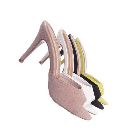 Manners01 by Bamboo, High Heel Slide In Mule Sandal - Women Peep Toe -