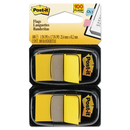 Post It Flags Standard Page Flags In Dispenser  Yellow  100 Flags Dispenser