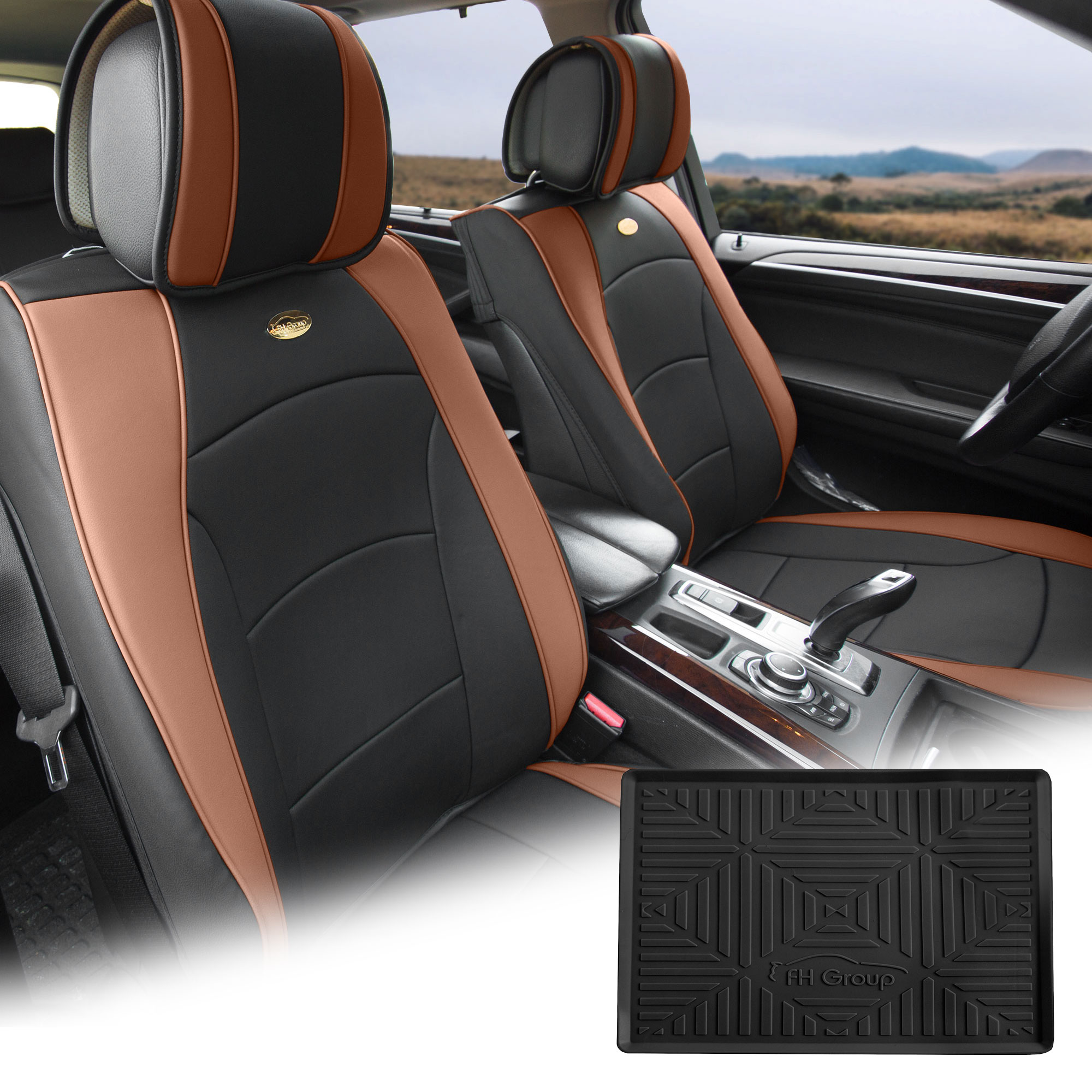 FH Group Brown Black PU Leather Front Bucket Seat Cushion Covers for Auto Car SUV Truck Van with Black Dash Mat Combo