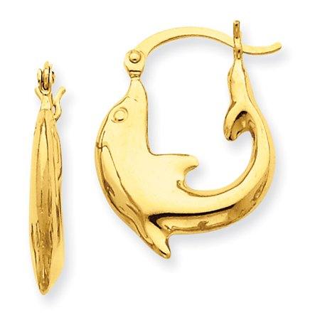 14k Yellow Gold Polished Dolphin Hoop Earrings LAL81524 14k Gold Dolphin Hoop Earrings