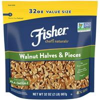 FISHER Chef's Naturals Walnut Halves & Pieces, 32 oz, Naturally Gluten Free, No Preservatives, Non-GMO