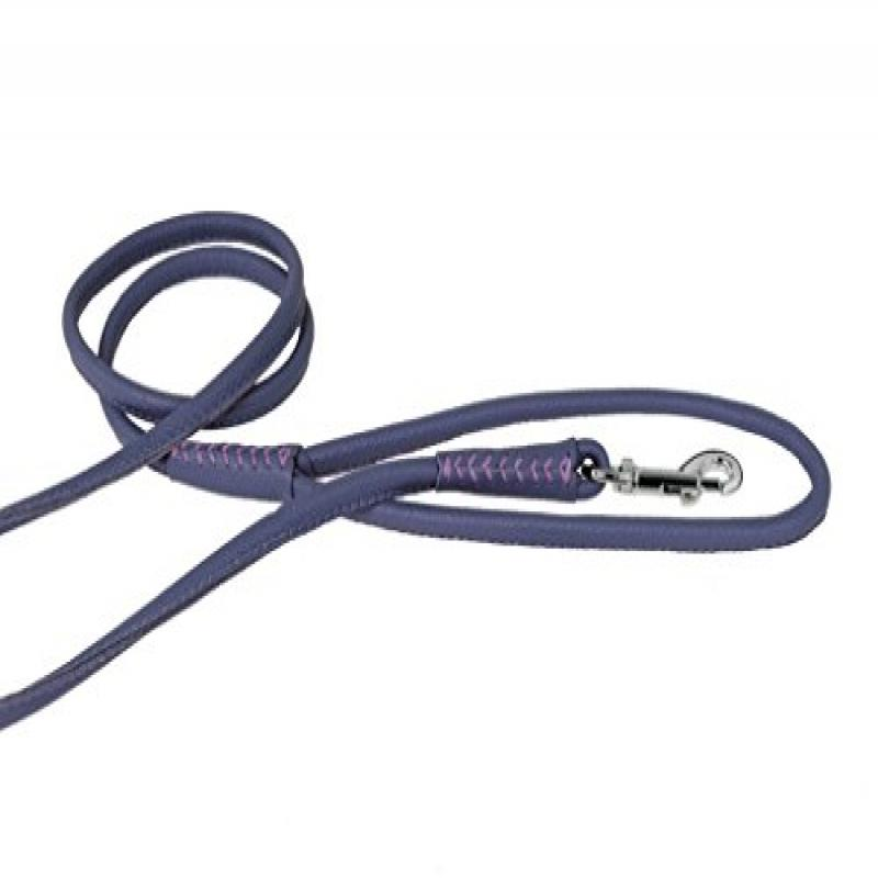 "Dogline Round Leather Leash W3/8"" -  L48"", Purple"