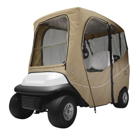 Classic Accessories Fairway Short Roof Deluxe Golf Cart Enclosure - Khaki - Golf Cart Ideas