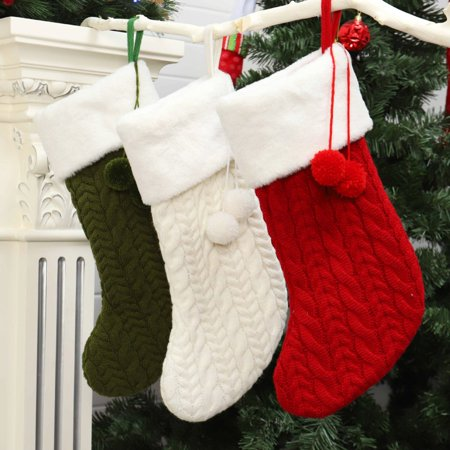 Knitted Christmas Stockings Gift Holder Xmas Tree Hanging Ornaments Decorations For Family Holiday Season Decor ()