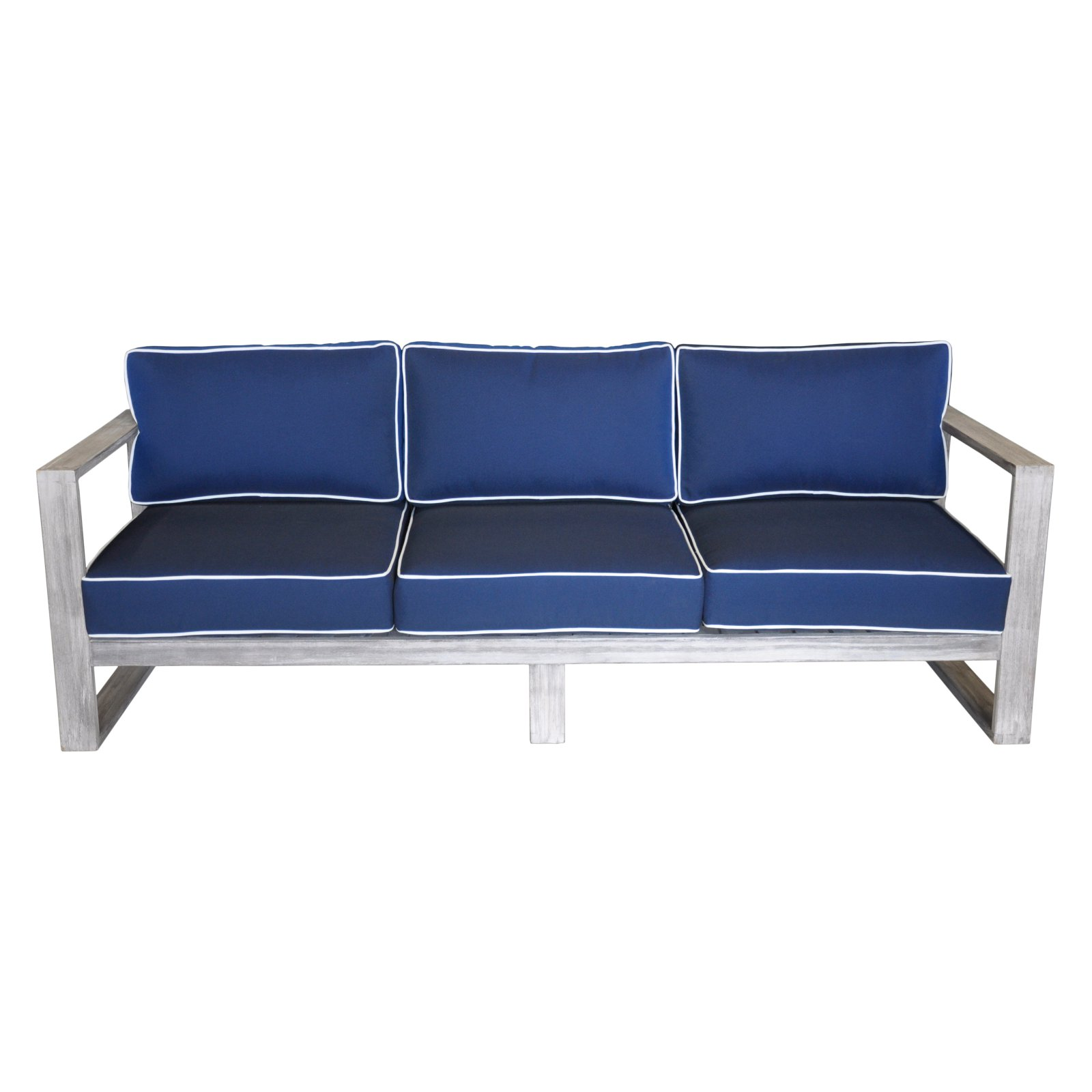 Courtyard Casual Driftwood Gray Teak Modern North Shore Outdoor Three Seater Sofa with Cushions by Courtyard Casual
