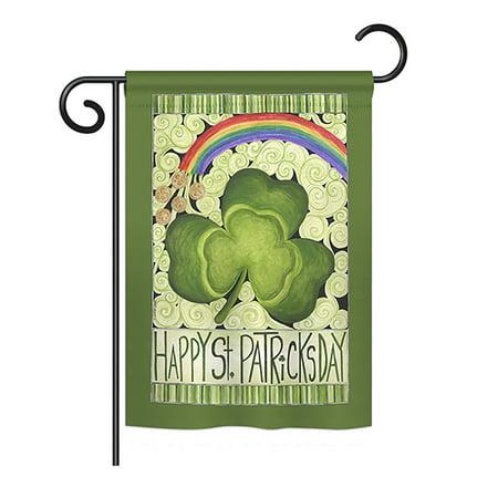 Breeze Decor - Happy St. Patricks Day Spring - Seasonal St Patrick Impressions Decorative Vertical Garden Flag 13