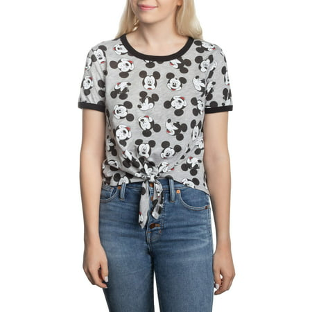 Juniors' Mickey Mouse Graphic Tie Front Ringer T-Shirt - Family Mickey Mouse Shirts