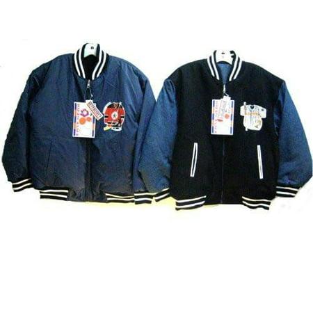 Mens Sizes M/L/XL/XXL Padded Embrodiery Varsity Zipper Reversible Jacket. * I Unit Pack *