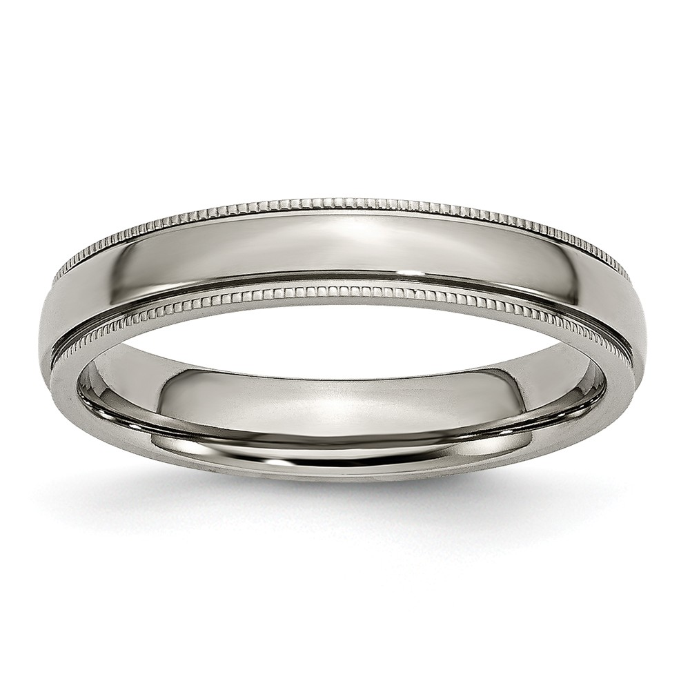 Men's Titanium Grooved and Beaded Edge Polished Wedding Band Ring