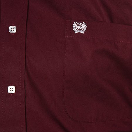 Cinch Apparel Mens  Burgundy Pinpoint Oxford Long Sleeve Shirt