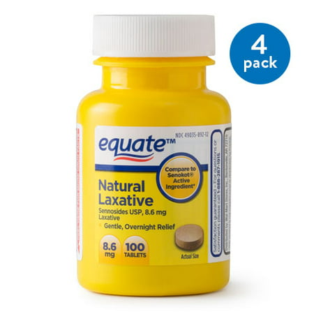 (4 Pack) Equate Natural Laxative Sennosides USP Tablets, 8.6 mg, 100 Ct