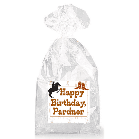 Cowboy Happy Birthday Pardner  Party Favor Bags with Ties - 12pack