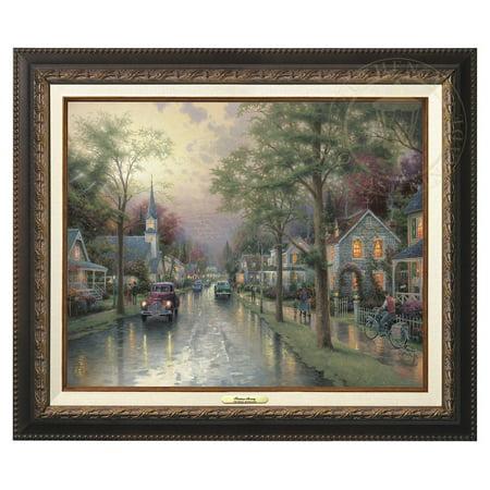 Thomas Kinkade Hometown Morning - Canvas Classic (Aged Bronze -